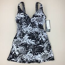 NWT Shore Shapes Black White Floral One Piece Skirted Swim Dress Swimsuit Sz 12
