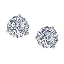 Round Solitaire Stud Earrings 1 ct Martini Style Solid 14k White Gold ScrewBack