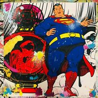 MR CLEVER ART OBESE SUPERMAN hand finished street art print pop art contemporary