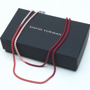 "New DAVID YURMAN Bel Aire Ombre Chain 34"" Box Necklace in Reds, 14K Gold Accents"