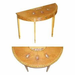 STUNNING VINTAGE WALNUT & SATINWOOD DEMI LUNE CONSOLE TABLE SHERATON REVIVAL