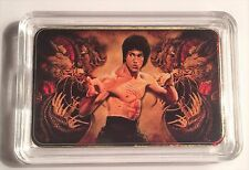 """BRUCE LEE""  Martial Arts Colour Printed 999 24k Gold Plated Ingot/token #21"
