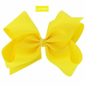 "6"" LEMON Yellow Hair Bows Jojo Style Large - Girls Teens Kids School Dance Party"