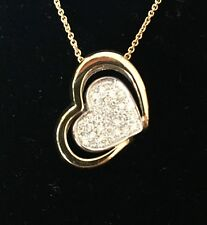 New And Unique 18K YG & WG Diamond Heart Necklace Top Quality Stones