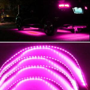 "Purple Pink Car Under Body LED Light Strip Skirt Decoration Lamps 2x 36""+ 2x 53"""