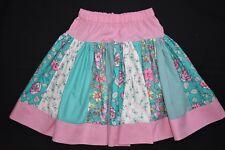 Girl's pink and green stripe skirt, size 8 - handmade