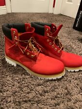 """Custom dyed SYCAMORE STYLE """"Suicide"""" Riz Red Timberland Boots (Size 10)"""