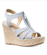 Michael Kors Berkley Espadrille Wedge Sandals, Pale Blue, Sz 7.5M
