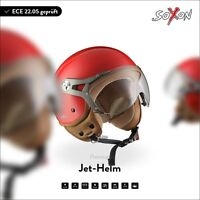 JET MOTORCYCLE-HELMET VESPA SCOOTER RETRO MOTO - SOXON SP-325 RED XS S M L XL