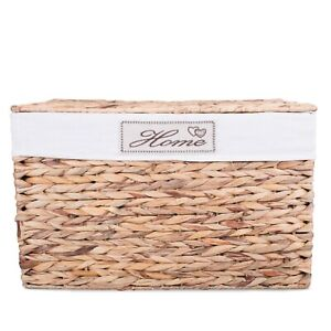 Wickerfield Water Hyacinth  Storage Box Trunk Chest Basket with Lid