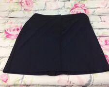 New York & Company Skirt Navy Size 12 Back Split Ornamental Waist Buckles Career