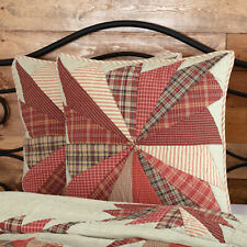 Vhc Rustic Euro Pillow Sham Cover Decorative Red Cotton Quilted Patchwork 26x26