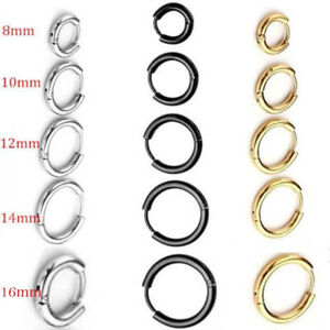 Mens womens Stainless Steel Hinged Hoop Nose Earring 3 Color 8,10,12,14,16mm 1PC