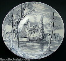1970's Johnson Brothers Dream Town Black Lg Oval Dinner Plate 26cm Looks in VGC