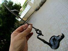 Original Antique Handmade Primitive Museum Hanging Hook Betty Oil Lamp in Iron