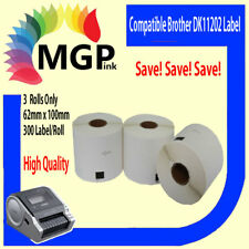 Compatible 3 roll Brother DK-11202 Large shipping Name Badge Labels 62×100 White