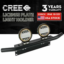"23"" Bull Bar Front Bumper License Plate Mount Bracket Offroad +5"" LED Work Light"
