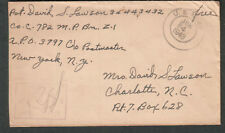 WWII censor cover Pvt David S Lawson Co C 782 MP Bn Z-1 APO 3797 US Army to NC