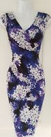 Womens Phase Eight Cobalt Blue Lilac Floral Ruched Draped Wiggle Bodycon Dress 8