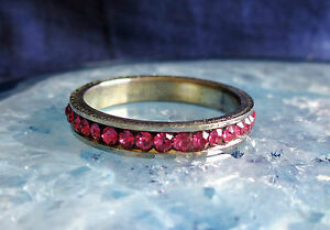 Stainless Steel Ring Pink Zirconia Various Sizes