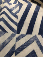 "100% LINEN WEDGEWOOD/WHITE ZIG ZAG FABRIC BY THE YARD 58"" WIDE BEAUTIFUL"