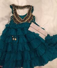 TEMPERLEY Emerald Green Embellished Tiered Silk STARLET Dress UK 8 BNWT £2000!!