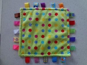 Beautiful Soft Velour Comforter Tag Square Lime Polka Dot & Orange