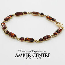 ITALIAN MADE BALTIC AMBER BRACELET IN 9CT GOLD -GBR058 RRP£450!!!