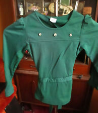 10 12 MEDIUM  True Vtg 70s GIRLS Green NYLON STRETCH KNIT BELTED HIPPY TOP