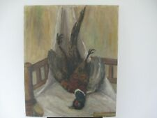 """GAME PHEASANT POST-HUNT BOUNTY oil on canvas painting 25 1/2"""" x 21 1/4"""""""