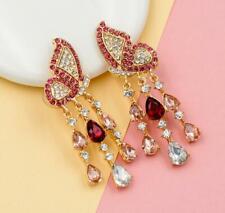 Betsey Johnson Fashion rare Alloy Rhinestone Pink butterfly drop Earring Jewelry