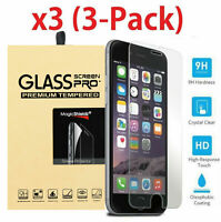 (3 Pack)Tempered Glass Screen Protector Saver for iPhone XS MAX XR X 8 7 6S SE 5