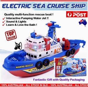 Electric Fire Boat Kids Bath Toy LED Flashing Lights Music Boat Baby Bath Toy AU