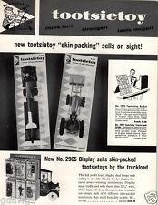 1959 PAPER AD Tootsietoy Rocket Launcher Farm Tractor Scoop Bucket Sore Display