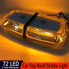 72 LEDs Light Bar Roof Top Emergency Beacon Warning Flash Strobe Amber Yellow