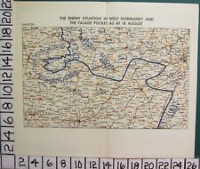 WW2 MAP ENEMY SITUATION IN WEST NORMANDY & FALSE POCKET AS AT 18th AUGUST FRANCE