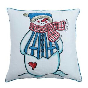 S4Sassy Decor Snowman Kids Cushion Cover Square Sequins Decorative-1mz