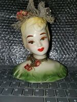 Lady Head Vase Vintage lady with Netting and Cloth flowers and Choker