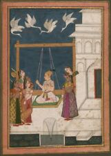 Palace Courtyard with birds, Hindola Raga 19th Century Classic Indian Art Poster