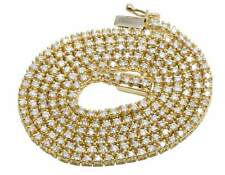 10K Yellow Gold Genuine Diamond One Row Prong Tennis Chain Necklace 9.0CT 2.5MM