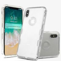 For Apple iPhone Xs Max TRANSPARENT CLEAR Hybrid Shockproof Rubber Case Cover