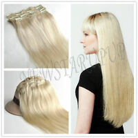 """160g CLIP IN REMY REAL HUMAN HAIR EXTENSIONS 22"""" 8PCS FULL HEAD #60 Light Blonde"""