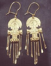 """Artistic 14K Solid Gold Handcrafted Peruvian Aztec God Dangle Earrings 2 1/2"""" L"""