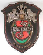Vintage German Beck's Beer 3D Crest/Shield/Coat of Arms Sign