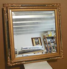 "Large Solid Wood ""27x27"" Rectangle Beveled Framed Wall Mirror"