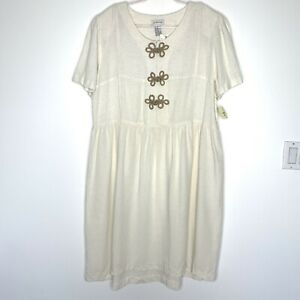 Avenue Women's Shift Dress Ivory White Size 20 NWT Rayon Linen Casual Summer