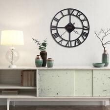 Horloge Pendule Murale Ronde Chiffres Romains Vintage Métal Européenne Maison NF