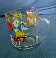 Arcoroc France Glass Tumbler Cartoon Themed Child's Mug Cup Colorful Vintage