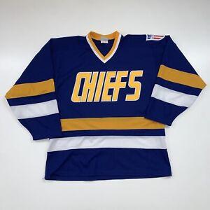 Vintage Charlestown Chiefs Hockey Jersey Size Men's Large Blue