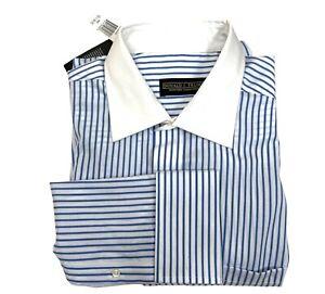 Donald Trump Signature Collection Men's Shirt 16.5 34/35 Blue Striped